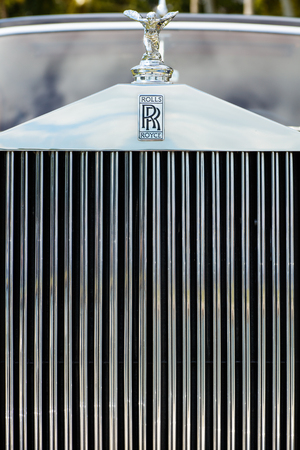restored: Miami, FL USA - February 28, 2016: Beautifully restored 1952 Rolls Royce automobile.