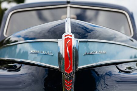 front end: Miami, FL USA - February 28, 2016: Close up view of the front end of a beautifully restored vintage 1941 Studebaker Commander automobile.