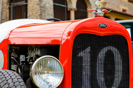 front end: Miami, FL USA - February 28, 2016: Close up view of the front end of a beautifully restored 1929 Ford Model A Speedster automobile. Editorial