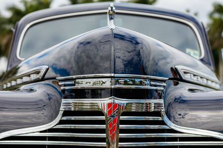 front end: Miami, FL USA - February 28, 2016: Close up view of the front end of a beautifully restored 1941 Chevrolet Special Deluxe automobile.