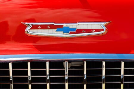 front end: Miami, FL USA - February 28, 2016: Close up view of the front end of a beautifully restored 1955 Chevrolet Belair automobile.