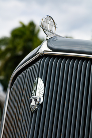 front end: Miami, Florida USA - February 28, 2016: Close up view of the front end of a beautifully restored 1934 American Plymouth automobile. Editorial