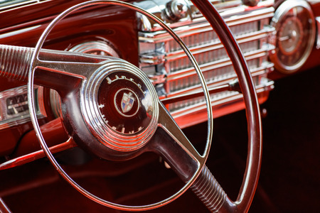 restored: Miami, Florida USA - February 28, 2016: Close up view of the interior of a beautifully restored 1946 American Lincoln Continental. Editorial
