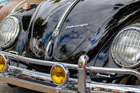 front end: Miami, Florida USA - February 28, 2016: Close up view of the front end of a vintage German Volkswagen Beetle.