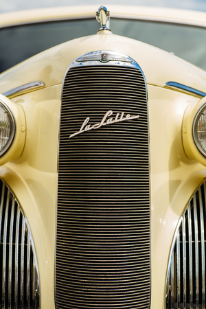 Miami, FL USA - February 28, 2016: Close up view of the front end of a beautifully restored 1939 Chevrolet Cadillac Lasalle automobile. Editorial