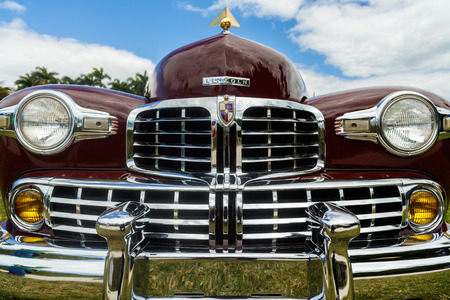 old car: Miami, Florida USA - February 28, 2016: Close up view of the front end of a beautifully restored 1946 American Lincoln Continental. Editorial