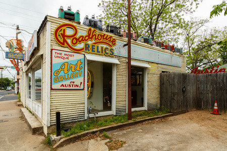 relics: Austin, Texas USA - April 10, 2016: The Roadhouse Relics store on Congress Avenue near downtown is a popular tourist destination for its famed Austin city mural. Editorial
