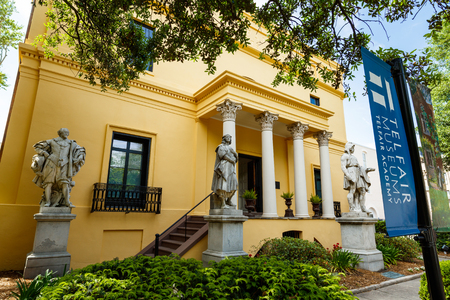 destination scenics: Savannah, GA USA - April 25, 2016: The popular Telfair Museum in the historic district of Savannah was the first public art museum in the Southern United States.