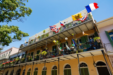 french quarter: New Orleans, LA USA - April 22, 2016: Beautiful architecture of the historic French Quarter. Editorial