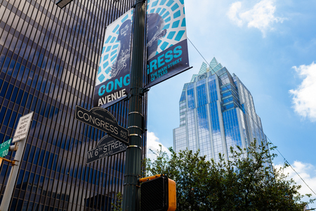 the sixth: Austin, Texas USA - April 14, 2016: Cityscape view of the downtown area at the intersection of West Sixth Street and Congress Avenue.