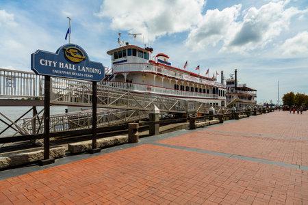 dinner cruise: Savannah, GA USA - April 25, 2016: River boat docked along the Savannah River in the Riverwalk Plaza area. Editorial