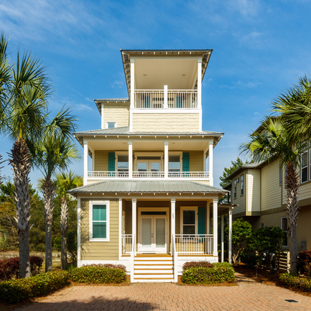vacation home: Seacrest Beach, FL USA - March 29, 2016: Beautiful vacation home in the North Florida panhandle coastal community. Editorial