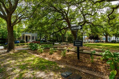 warren: Savannah, GA USA - April 25, 2016: Warren Square Park is a popular area to relax in the historic district.