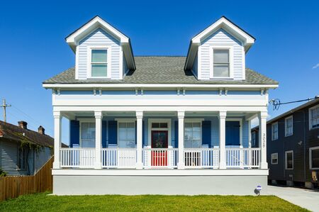 residential home: New Orleans, LA USA - April 22, 2016: A newly constructed home in the up and coming Broadmoor residential area.