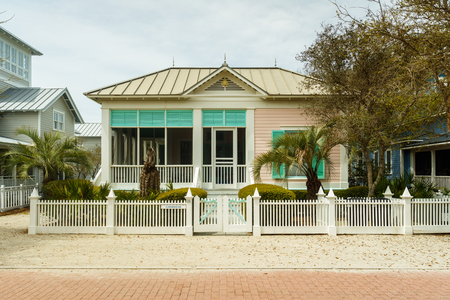 vacation home: Seaside, FL USA - March 29, 2016: Beautiful vacation home in the North Florida panhandle coastal community.