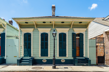 french quarter: New Orleans, LA USA - April 22, 2016: A beautifully restored home in the historic French Quarter district.