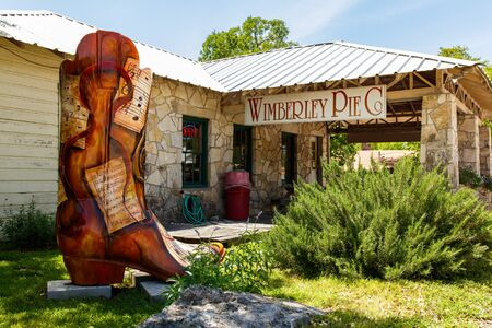 southwestern: Wimberley, Texas USA - April 6, 2016: Colorful shop with artwork on display in the small Texas Hill Country town of Wimberley. Editorial