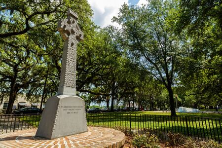 downtown district: Savannah, GA USA - April 25, 2016: The Irish American Memorial at Emmet Park along the Riverfront Plaza in the historic downtown district.