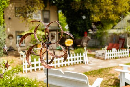 destination scenics: Wimberley, Texas USA - April 6, 2016: Colorful shop with artwork and vintage items on display in the small Texas Hill Country town of Wimberley.