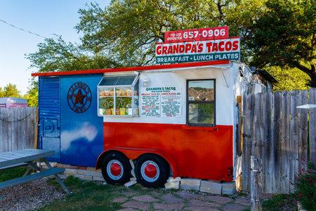 tex mex: Spicewood, Texas USA - April 5, 2016: Grandpas Tacos is a popular breakfast taco stand in suburban Austin. Editorial