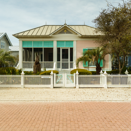 coastal: Seaside, FL USA - March 29, 2016: Beautiful vacation home in the North Florida panhandle coastal community.