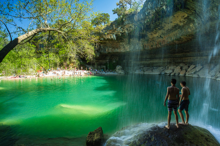Travis County, Texas USA - April 4, 2016: The natural Hamilton Pool is a popular tourist destination in rural Travis County.