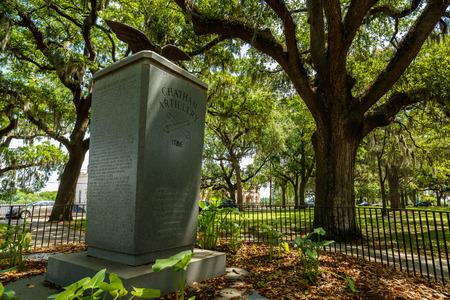 riverfront: Savannah, GA USA - April 25, 2016: The Chatham Artillery Memorial at Emmet Park along the Riverfront Plaza in the historic downtown district.