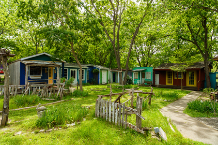 unoccupied: Wimberley, Texas USA - April 6, 2016: Colorful unoccupied retail shops in the small Texas Hill Country town of Wimberley. Editorial