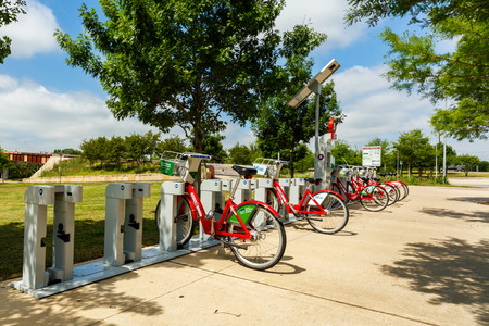 rentals: Austin, Texas USA - April 14, 2016: Austin B-cycle station in the downtown area provides bicycle rentals for residents and visitors to the area.