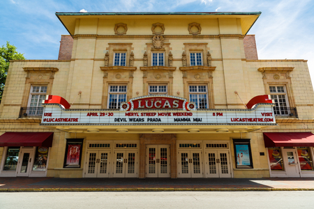 downtown district: Savannah, GA USA - April 25, 2016: The beautiful architecture of the Lucas Theatre on Abercorn Street in the historic downtown district.