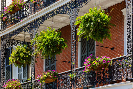 quarter: Beautiful architecture of the French Quarter in New Orleans, Louisiana.