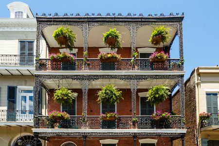 french quarter: Beautiful architecture of the French Quarter in New Orleans, Louisiana.