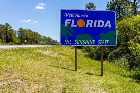 sunshine state: Welcome sign entering the state of Florida southbound from Georgia along Interstate 95.