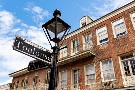 street lamps: Street signs and architecture of the French Quarter in New Orleans, Louisiana. Editorial