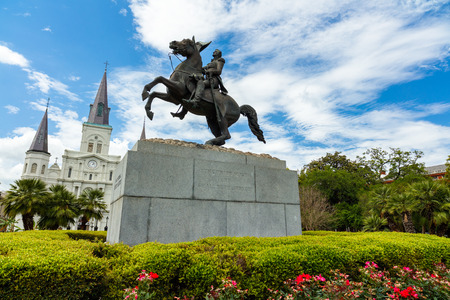 french quarter: Popular Jackson Square with Andrew Jackson statue and Saint Louis Cathedral in the French Quarter in New Orleans, Louisiana.
