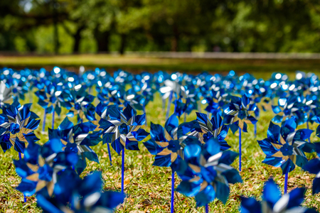 commemorating: Pinwheels commemorating Child Abuse Prevention Month at the popular Audubon Park in New Orleans, Louisiana.