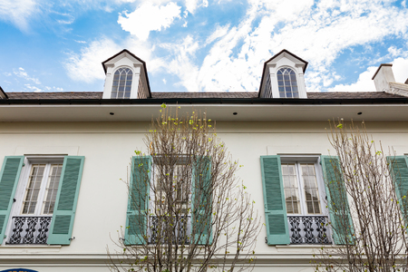french quarter: Classic architecture in the French Quarter in New Orleans, Louisiana. Stock Photo