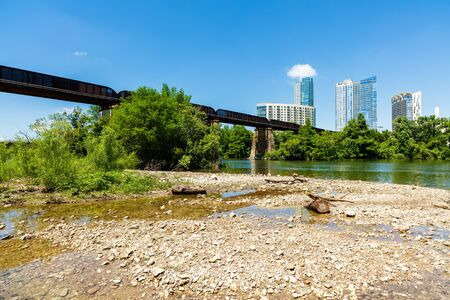 colorado skyline: Skyline view of downtown Austin, Texas from the bank of the Colorado River.