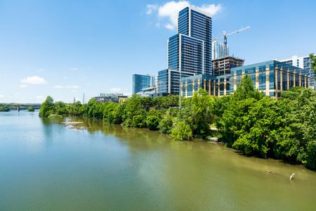 colorado river: Skyline view of downtown Austin, Texas along the Colorado River.