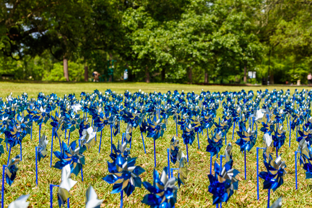pinwheels: Pinwheels commemorating Child Abuse Prevention Month at the popular Audubon Park in New Orleans, Louisiana.
