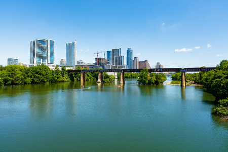 Skyline view of downtown Austin, Texas along the Colorado River.