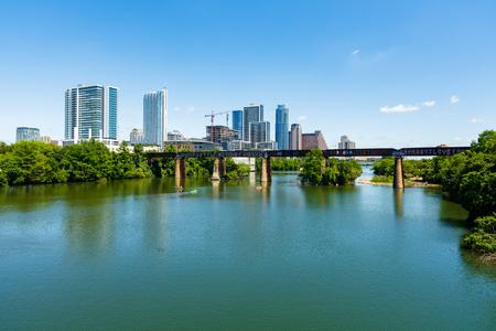 colorado skyline: Skyline view of downtown Austin, Texas along the Colorado River.