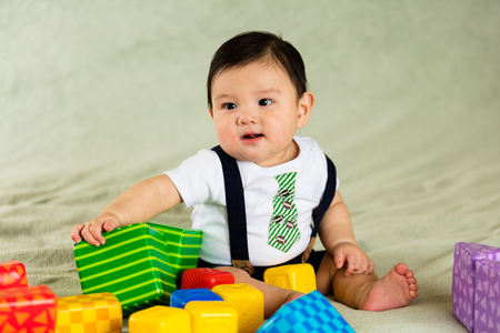 Cute hispanic baby boy portrait.