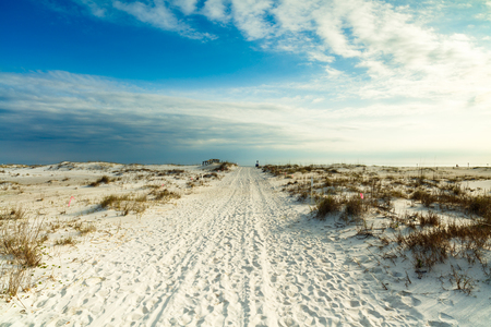 panama city beach: Beautiful white powder sand beach in the Florida panhandle in the late afternoon. Stock Photo