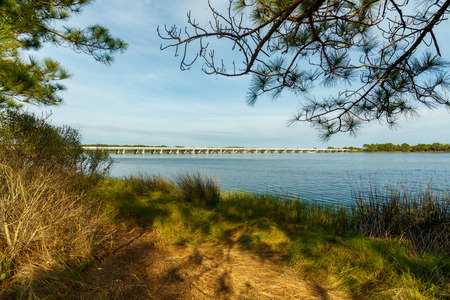 panama city: Beautiful Philips Inlet in the North Florida panhandle area near Panama City with the highway 98 bridge in the background. Stock Photo