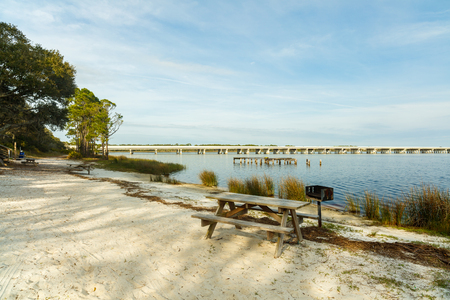 natural bridge state park: Beautiful Philips Inlet in the North Florida panhandle area near Panama City with the highway 98 bridge in the background. Stock Photo