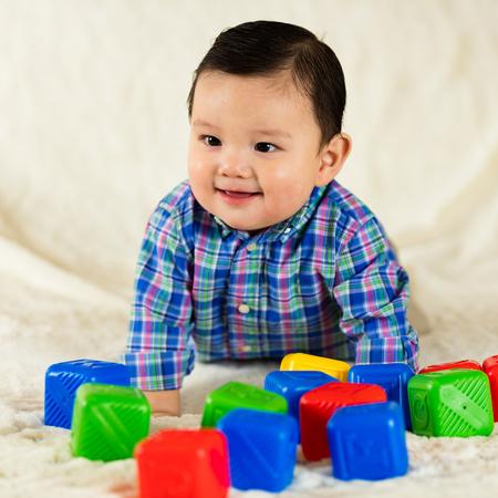 multi racial: Cute hispanic baby boy portrait.