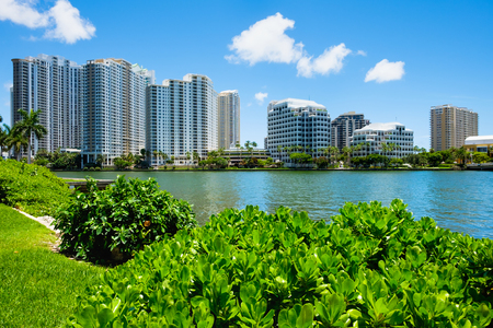 key biscayne: Downtown Miami along Biscayne Bay with Brickell Key in the background.