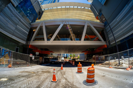 fish eye: Miami, Fl USA - June 22, 2016: Fish eye view of the Brickell City Centre construction project nearing completion in the popular downtown Brickell area.