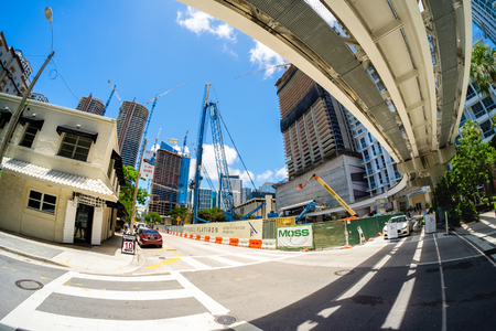 steel tower: Miami, Fl USA - June 22, 2016: Fish eye view of the Flatiron construction project underway in the popular Brickell area in downtown Miami.
